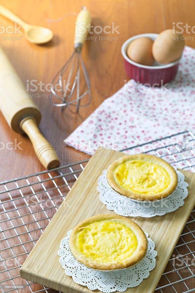 Dessert Ei Herb Susse Pudding Kuchen Auf Tablett Aus Holz