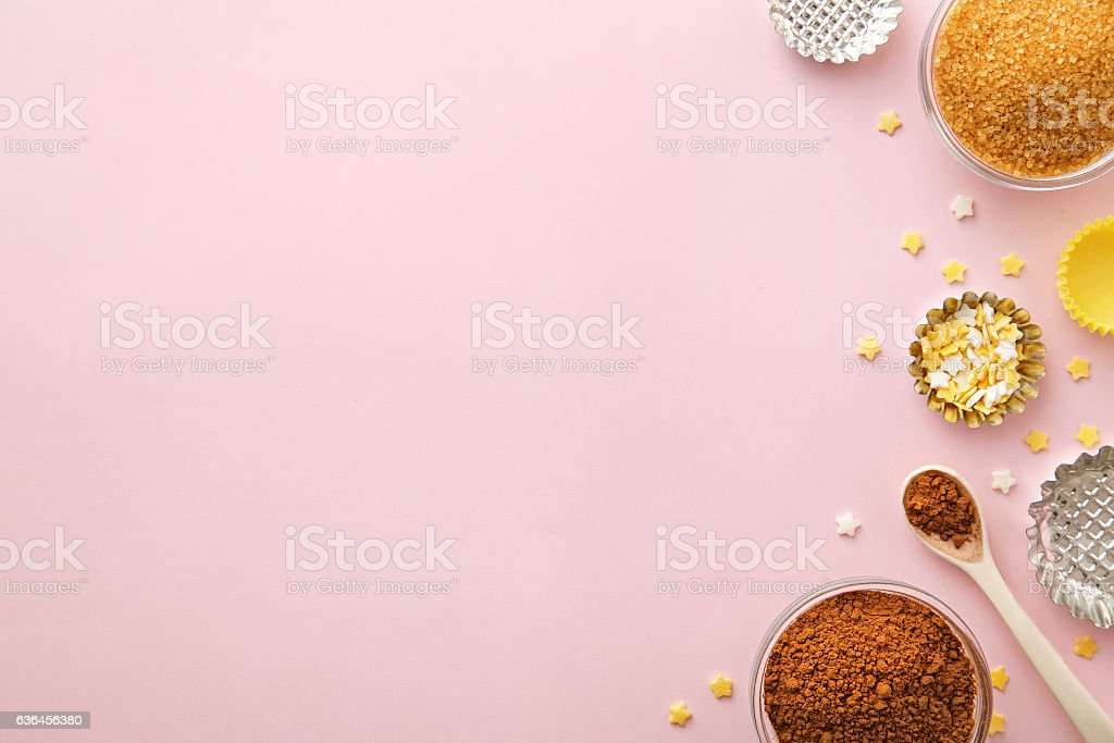 Dessert ingredients and utensils with pink copy space. Top view stock photo