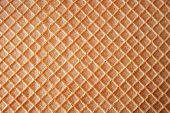 Dessert making concept with full frame macro close up on the detail texture of a wafer with copy space