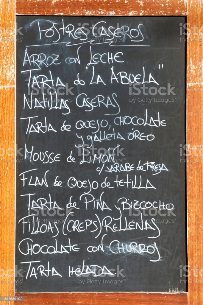 Carte des desserts à bord de la craie. - Photo
