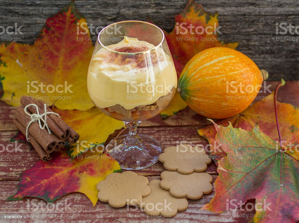 dessert of pumpkin with cinnamon stock photo