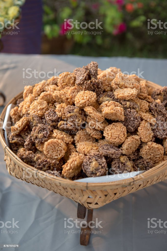 Dessert of Thai rice crust crispy on basket. stock photo