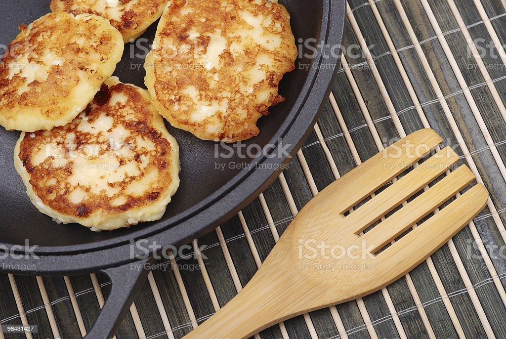 Dessert pancakes on a dripping pan royalty-free stock photo