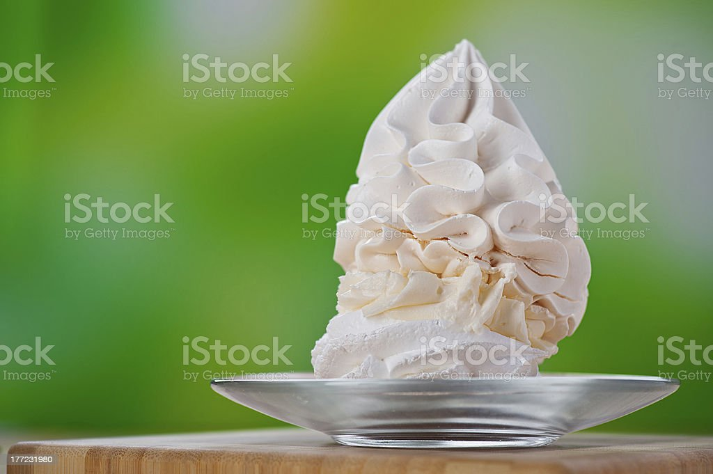 dessert (meringue, whipped cream, ice cream) stock photo
