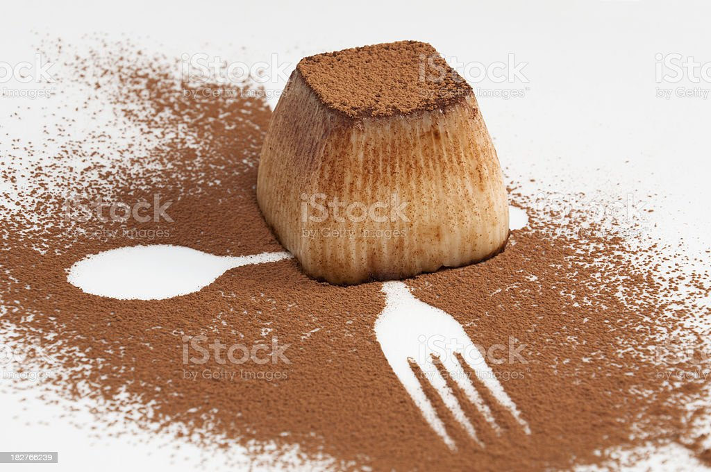 Dessert pudding with cocoa stock photo