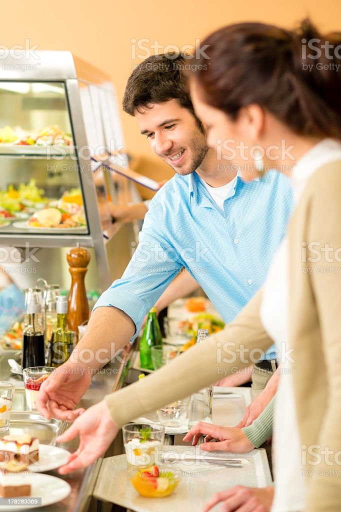 Dessert selection at cafeteria self-service buffet stock photo