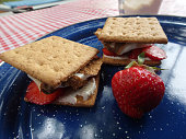 istock Dessert S'mores with stawberries and cream cheese in camping 1140569171