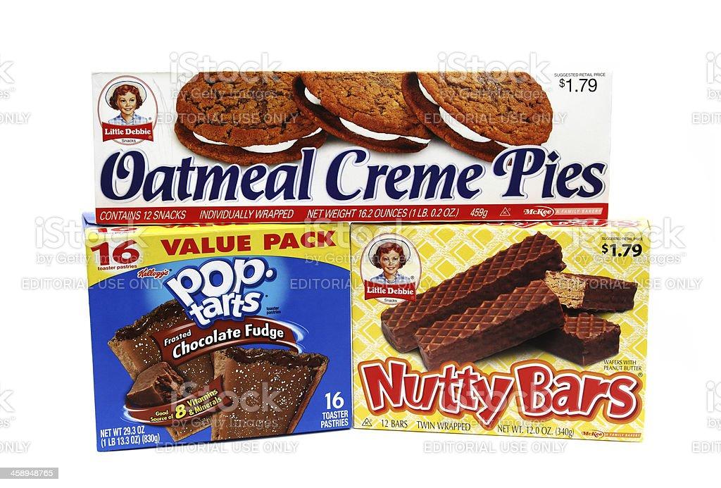Dessert snacks: Creme Pies, Nutty Bars and Pop Tarts stock photo