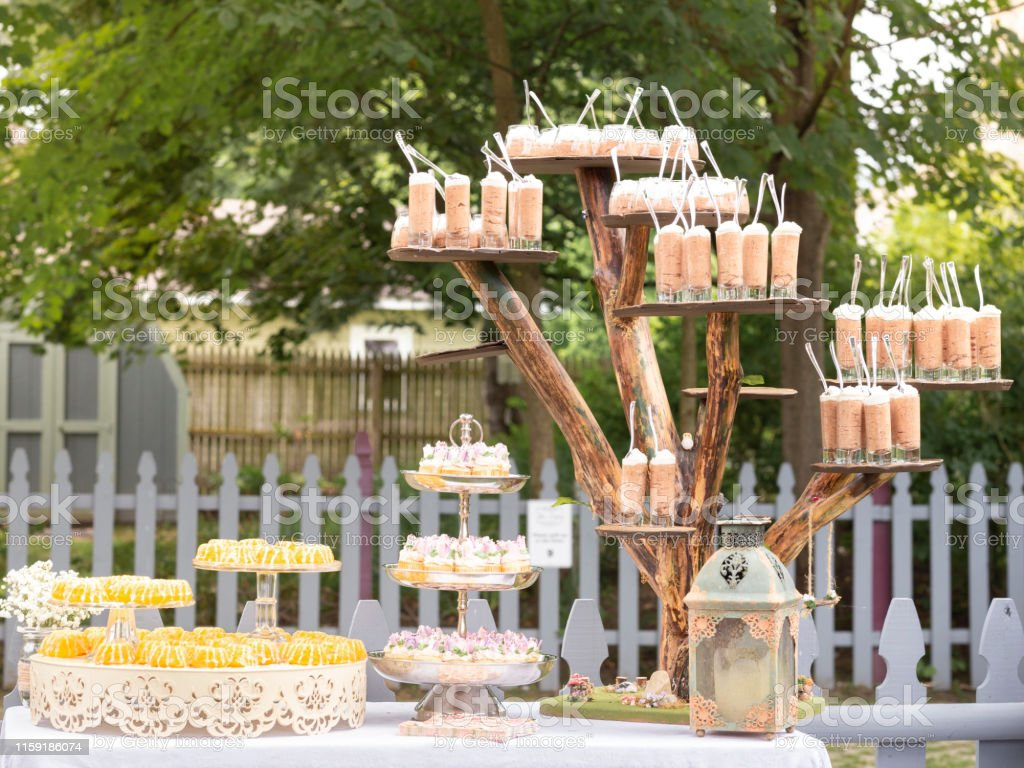 Dessert Station at Backyard Outdoor Party - Royalty-free Baby Shower Stock Photo