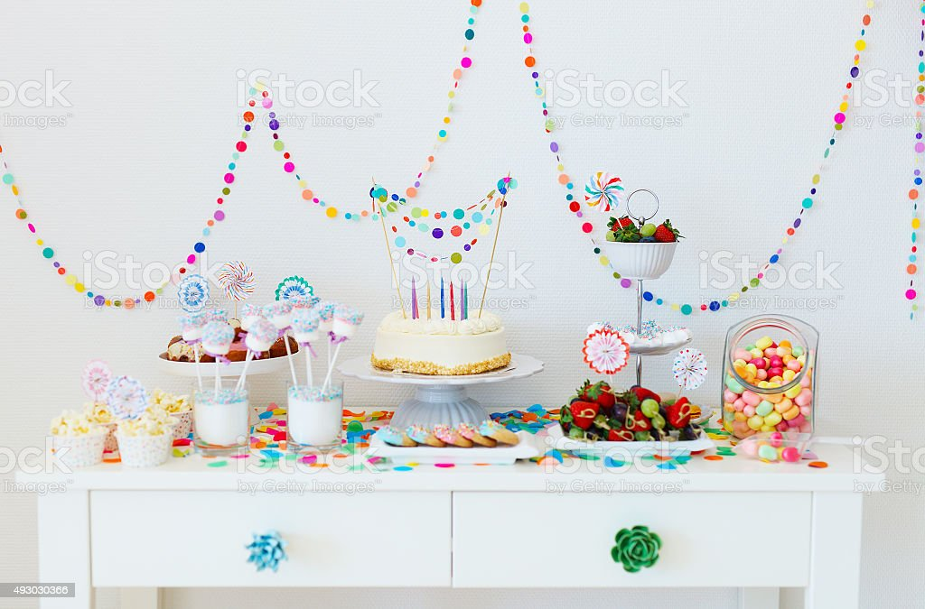 Dessert table at party stock photo