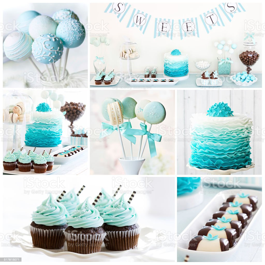 Dessert table collage stock photo