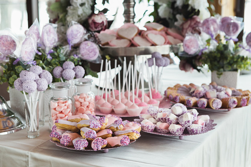 istock Dessert table for any holiday at wooden background 962186740
