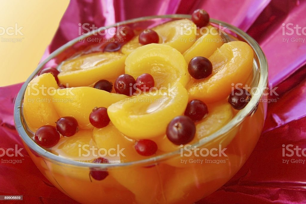 Dessert with apricots. royalty-free stock photo