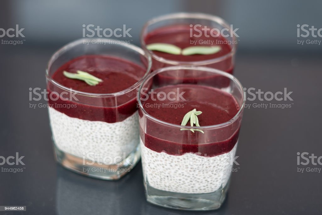 Dessert with chia seeds with forest fruit mousse stock photo