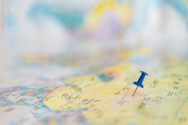 destination and blue pin on the map - mouse pointer stock photos and pictures