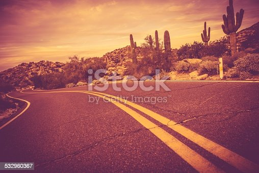 Curved Arizona Desert Road. Traveling Theme. Rocks and Cactuses Landscape.