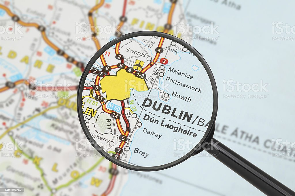 Destination - Dublin (with magnifying glass) stock photo