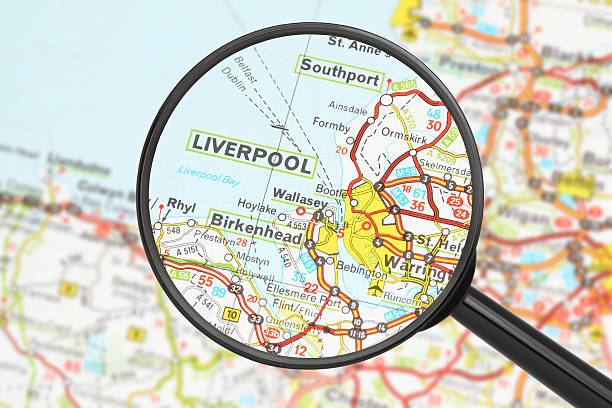 Destination - Liverpool (with magnifying glass) Tourist conceptual image. Destination - Liverpool (with magnifying glass) northwest england stock pictures, royalty-free photos & images