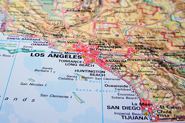 Destination: Los Angeles Los Angeles on a map. san bernardino california stock pictures, royalty-free photos & images