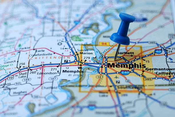 destination memphis tennessee - tennessee map stock photos and pictures