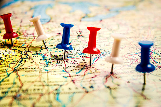 destination - tennessee map stock photos and pictures