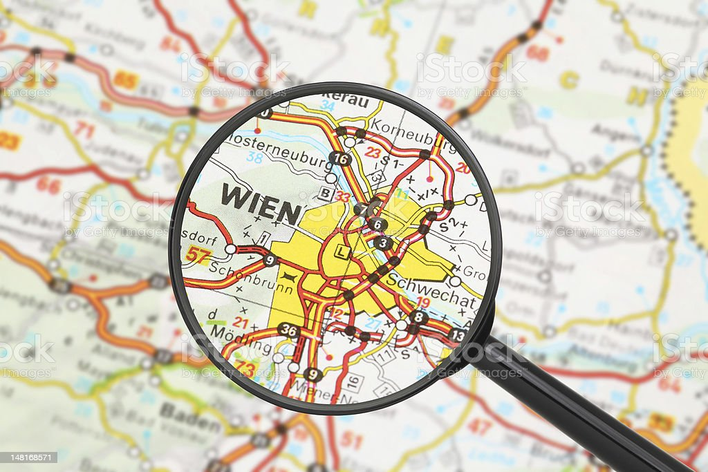 Destination - Vienna (with magnifying glass) stock photo
