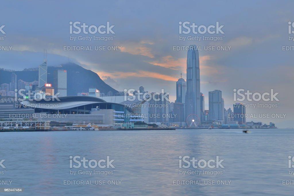 destination view point to observe Victoria Harbour, HK stock photo