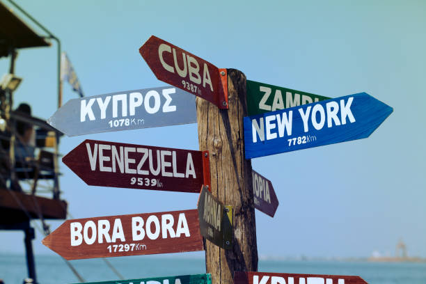 Destinations signpost stock photo