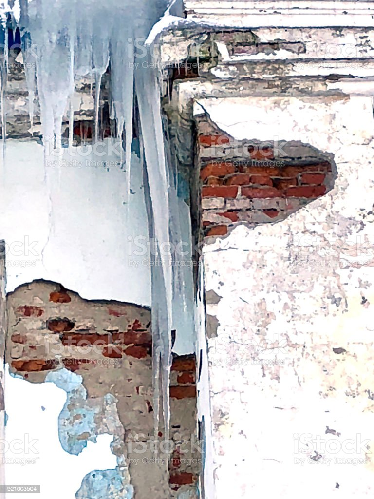 Destroy building with icicle stock photo