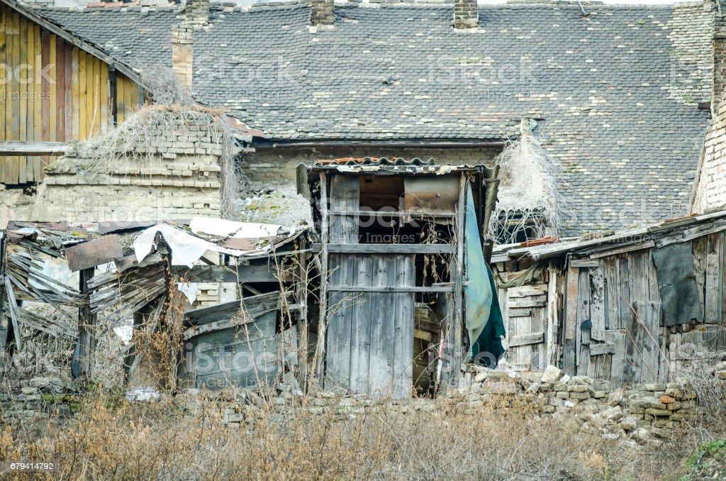 Destroyed abandoned house. Part of old demolished house. royalty-free stock photo