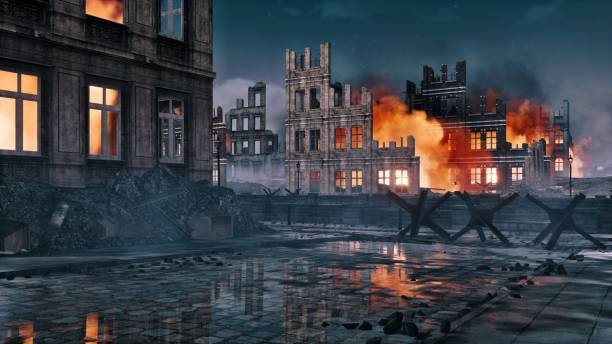 Destroyed after war burning city ruins at night Destroyed after war abandoned european city with street barricade and burning building ruins on a background at night. With no people historical military 3D illustration from my own 3D rendering file. battlefield stock pictures, royalty-free photos & images