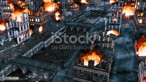 Aerial view of destroyed after war old european city on the river with empty streets and burning building ruins at night. With no people historical military 3D illustration from my own rendering file.