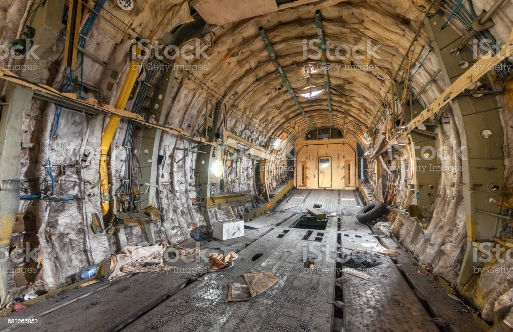 Destroyed and littered the cargo Bay stock photo