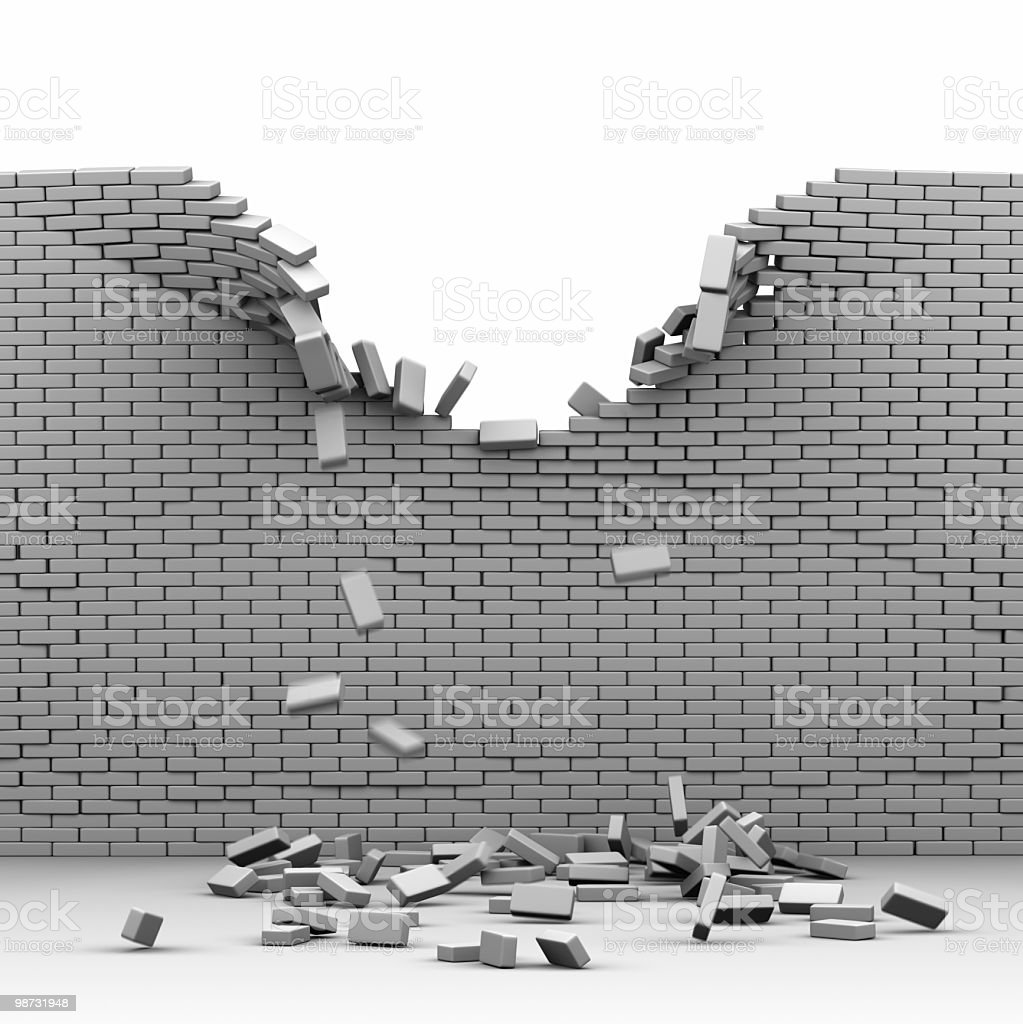 Destroyed brickwall stock photo