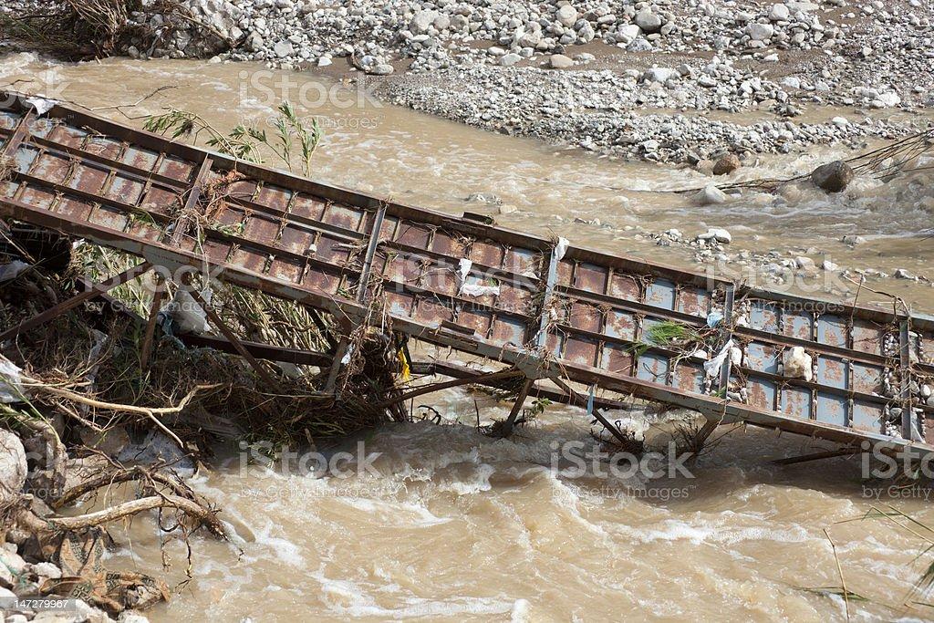 Destroyed Bridge over Stream stock photo