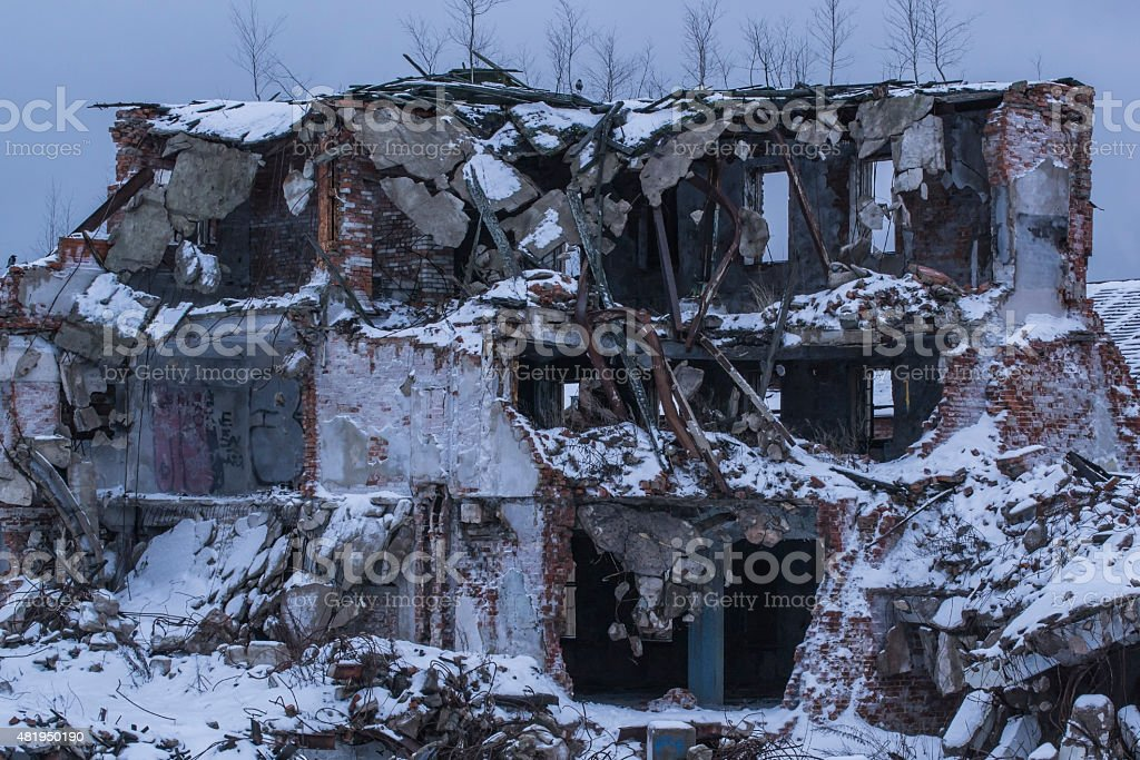 Destroyed building. Like the head of the robot. Vyborg, Russia stock photo