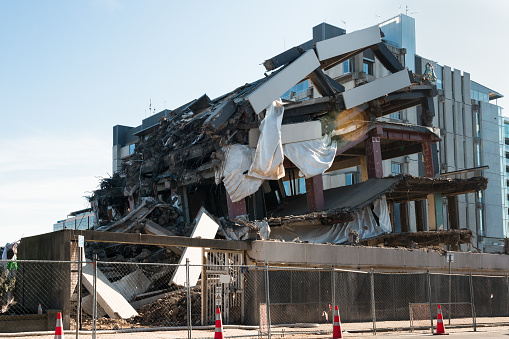 Building demolished by an earthquake, Christchurch, New Zealand