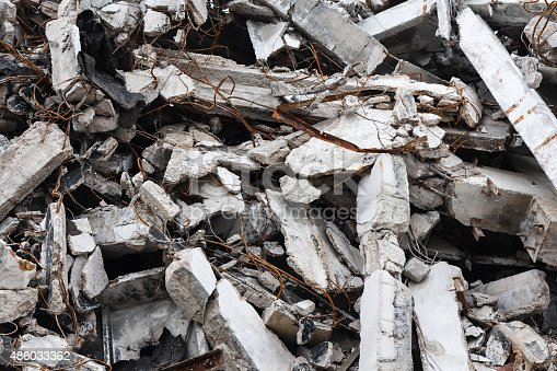 istock Destroyed building - rubble 486033362