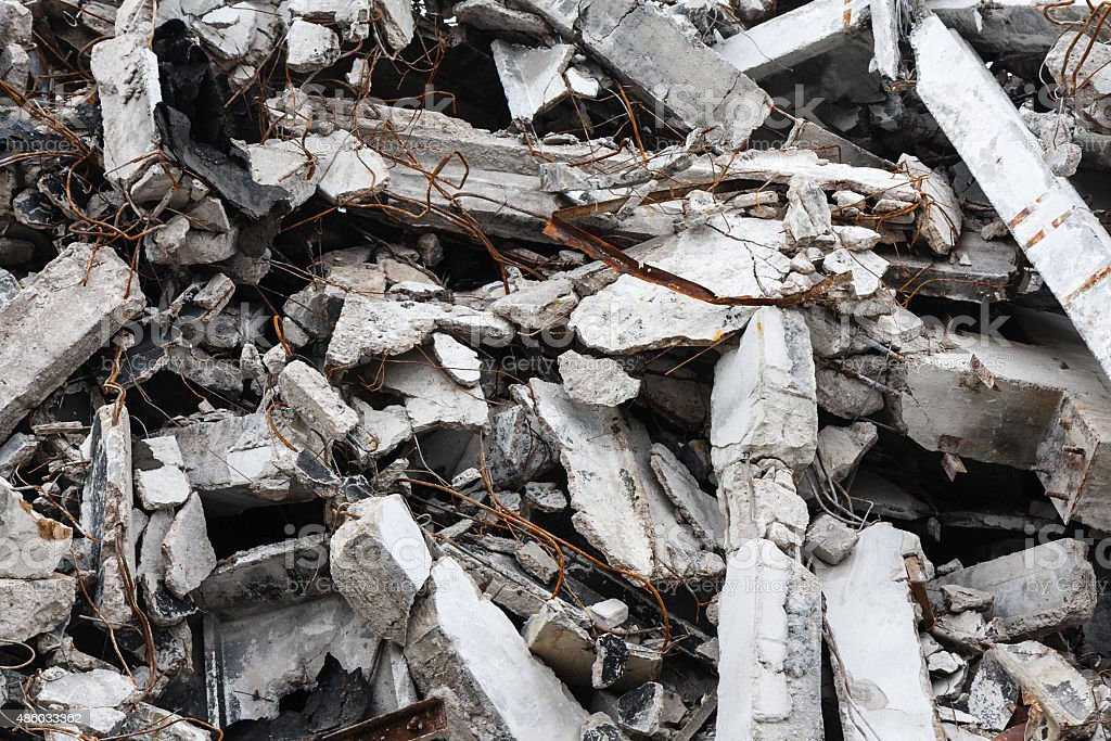 Destroyed building - rubble stock photo