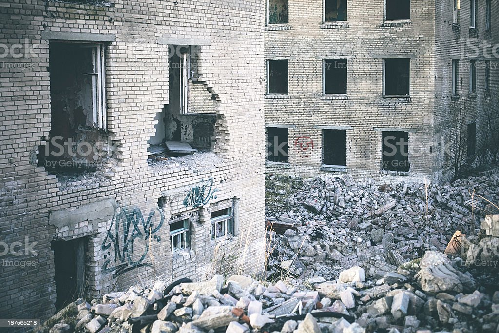 Destroyed buildings. royalty-free stock photo