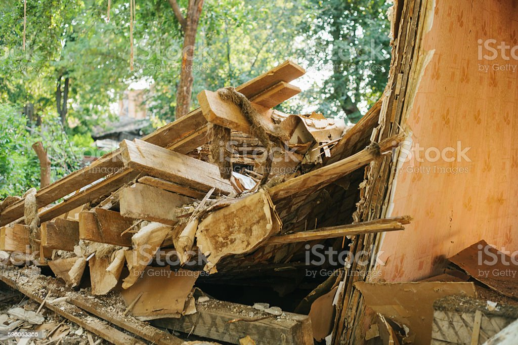 Destroyed by the earthquake building. royalty-free stock photo