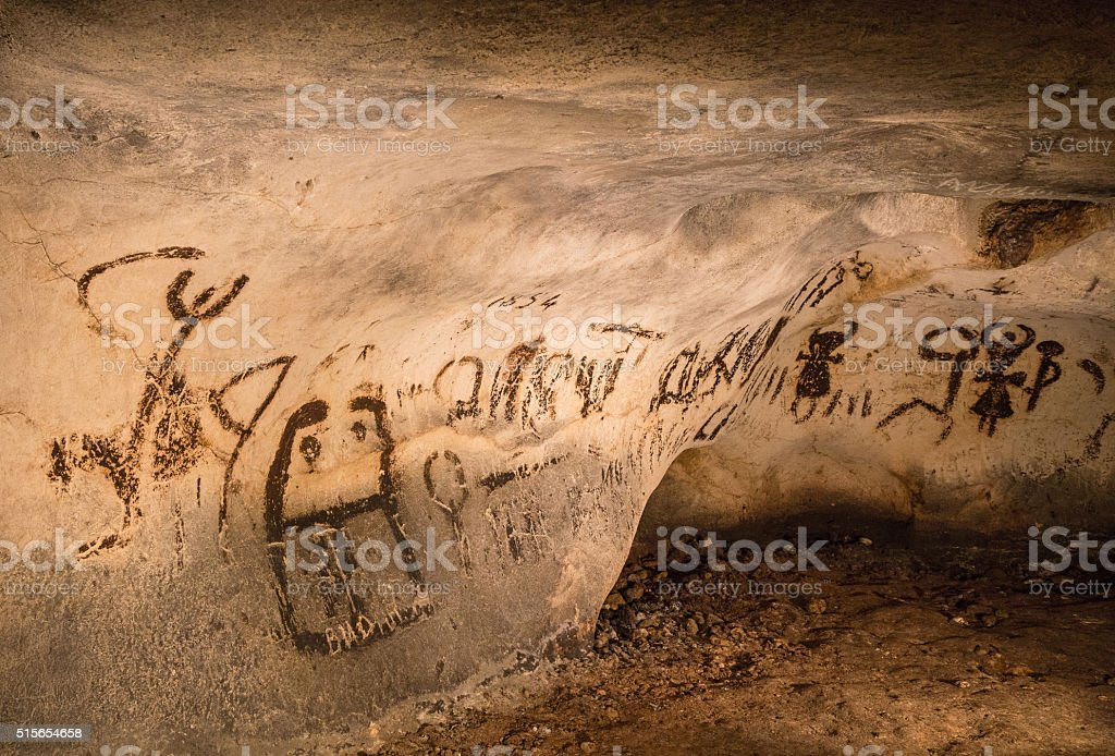 Destroyed by vandals cave drawings, The Magura cave stock photo