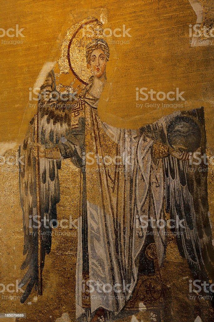 Destroyed byzantine mosaic of the Archangel Gabriel stock photo