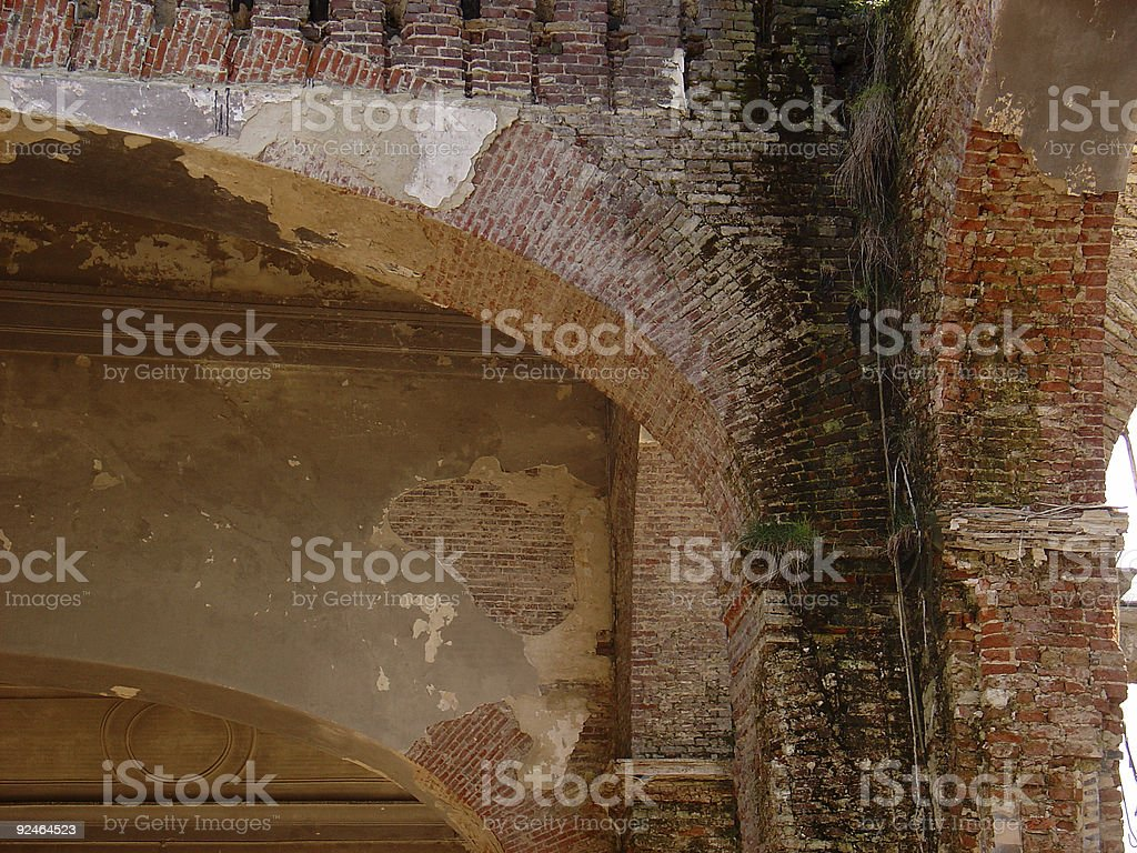 Destroyed Church Walls stock photo