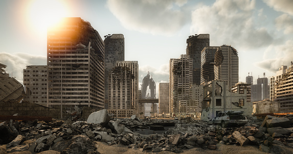 Digitally generated post apocalyptic scene depicting a desolate urban landscape with buildings in ruins and lots of rubble through the city streets.  The scene was rendered with photorealistic shaders and lighting in Autodesk® 3ds Max 2020 with V-Ray Next with some post-production added.