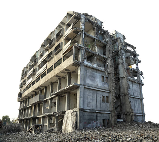Destroyed concrete building in city stock photo
