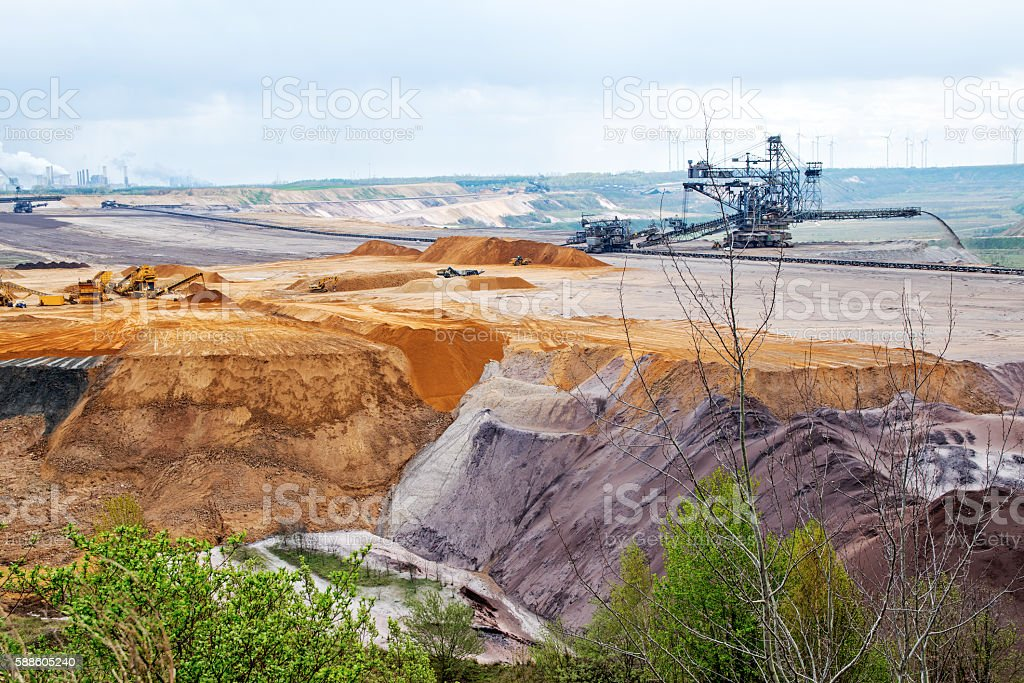 destroyed earth layers during lignite (brown coal) open pit mining stock photo