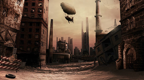 destroyed factory - steampunk stock photos and pictures