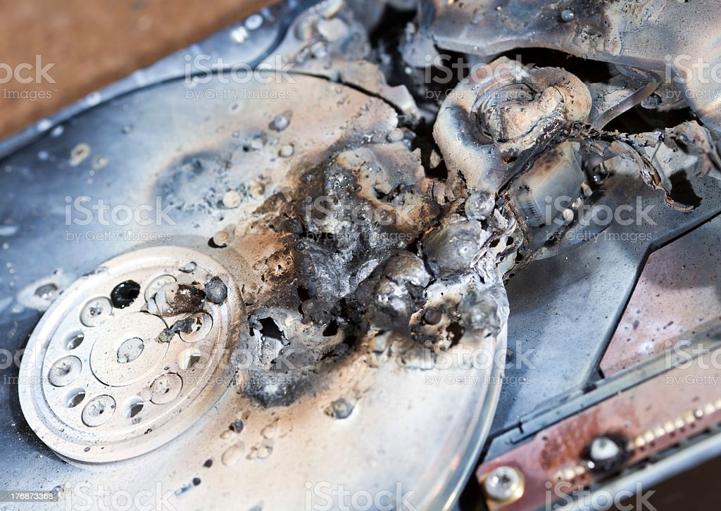 destroyed hard disk drive stock photo