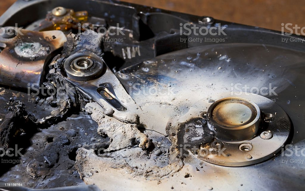 destroyed hard drive in close up view stock photo